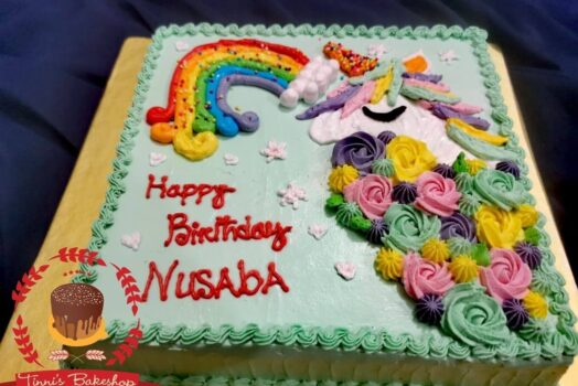 unicorn theme birthday cake